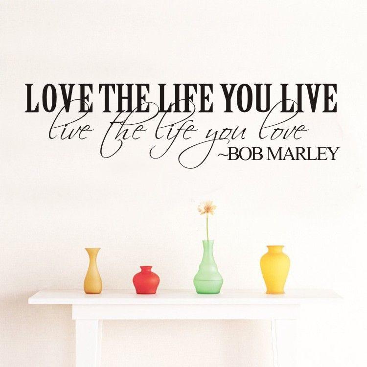 Bob marley quote vinyl wall decal inspirational lettering for Inspiratinal bob marley wall decals