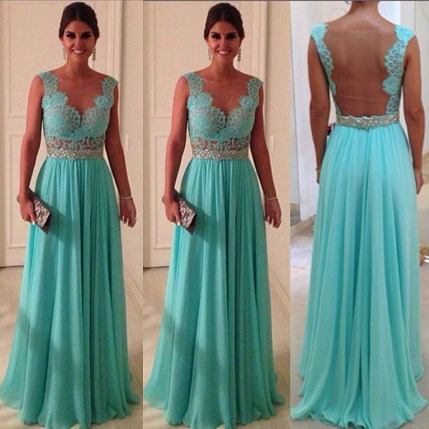 Aqua Bridesmaid Dresses Sheer Back Cap Sleeve Lace Chiffon Puffy ...