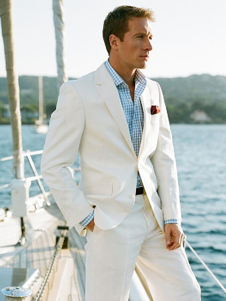 Summer Grooms Tuxedos Beach White Linen Suits Notched Lapel Men