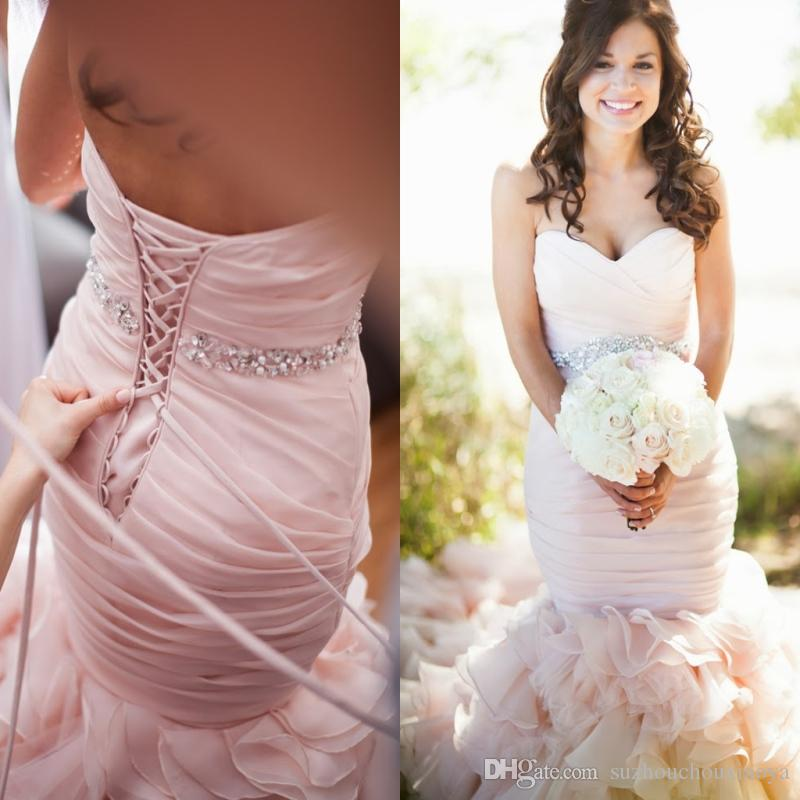2016 Romantic Plus Size Blush Pink Mermaid Wedding Dresses Bridal ...