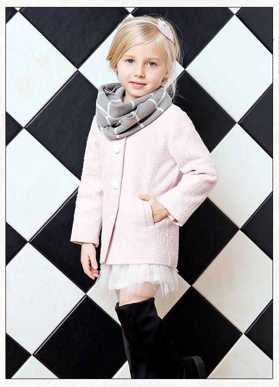 Girls Coats Pretty Lt.Pink Long Sleeve Kids Coats Cute White Rose