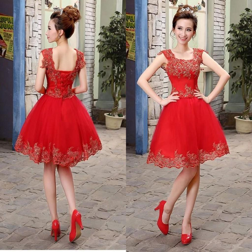 Traditional Chinese Wedding Dress Short Ball Gown Straps