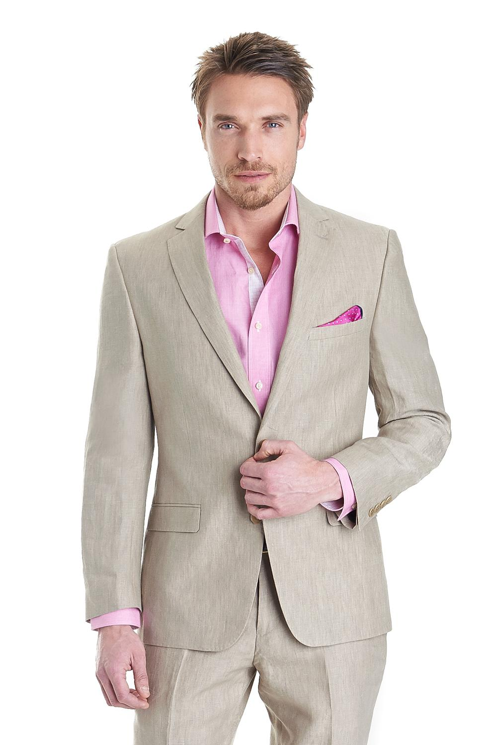 New Beige Wedding Suits For Men Notched Lapel Men Suits Slim Fit ...