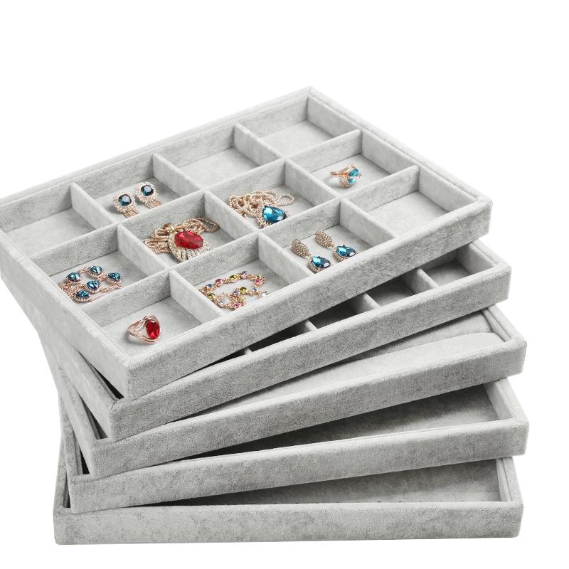 2017 gray high grade velvet jewelry display tray ring for Schubladen organizer