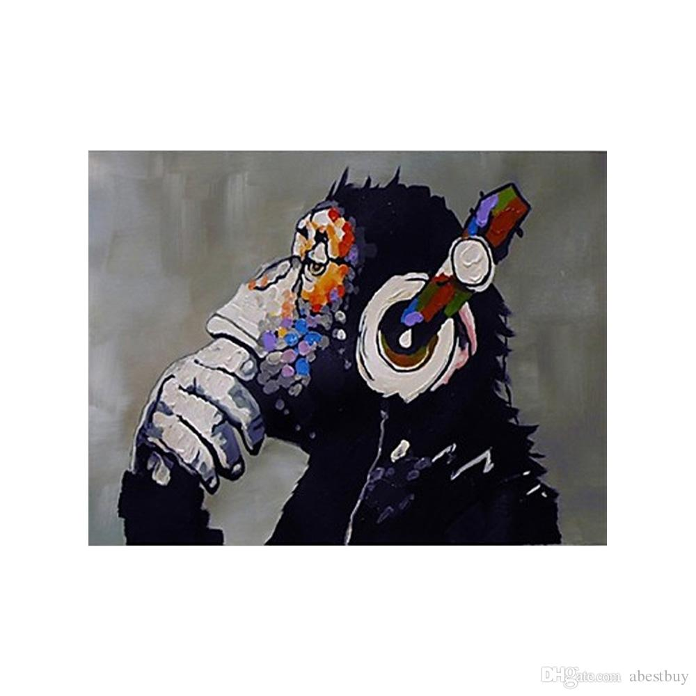 Hand Painted Modern Abstract Oil Painting Orangutan Listening To Music  Decorative Art For Home Living Room Bedroom Without Frame H16115