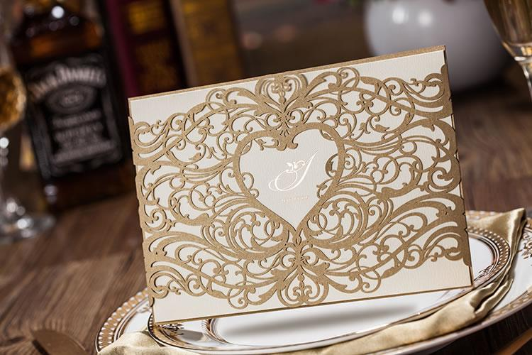 Gold Laser Cut Customizable Wedding Invitation Wedding Supplies – Free Customizable Party Invitations