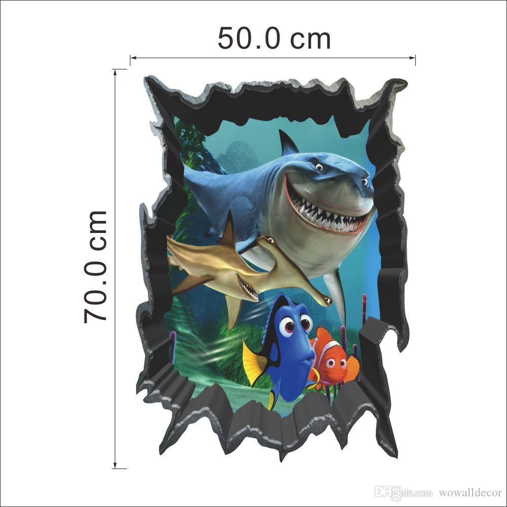 Awesome 3D Finding Nemo Cartoon Throug Wall Stickers For Kids Rooms Baby Home  Decoration WallPaper Kids Art Movie Poster Decorative Wall Decals Cartoon Wall  Sticker ...