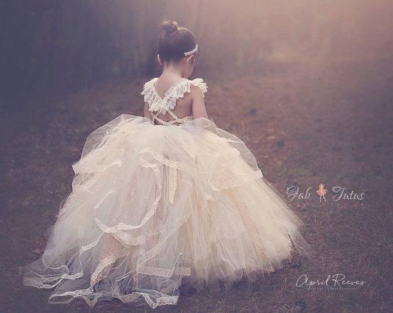 Vintage Inspired Flower Girls Dresses For Weddings With Square ...