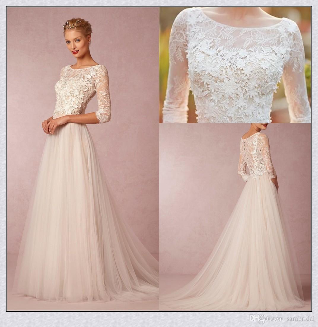 2016 Spring Vintage Wedding Dresses Lace Cheap Simple 3 4