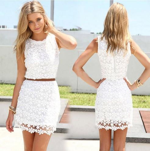 2015 Women Summer Lace Dress Plus Size Fashion Sexy Cute Vest Slim ...