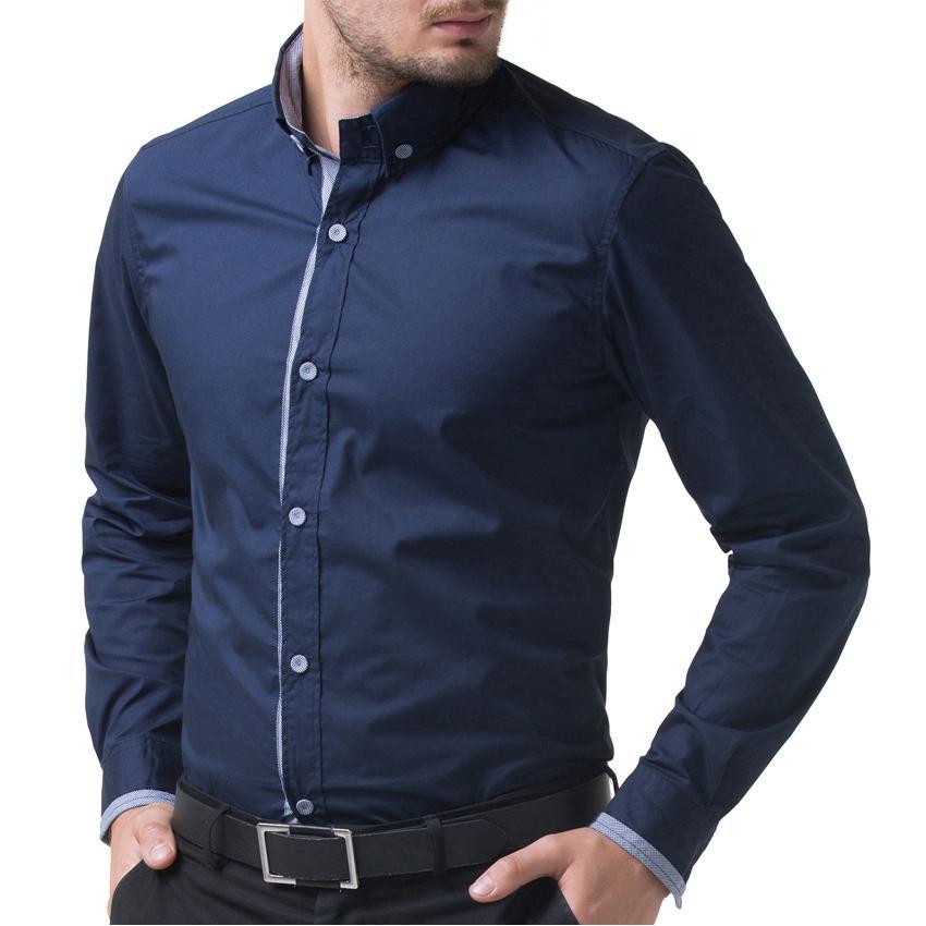 Famous Brand Men Shirt 2016 New Arrival Men Long Sleeve Shirt Navy ...