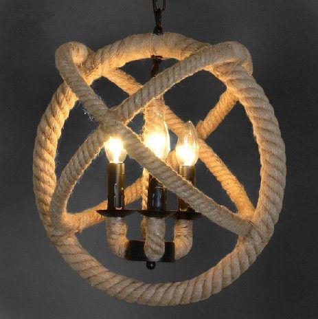 discount loft style vintage hemp rope lamps e14 base. Black Bedroom Furniture Sets. Home Design Ideas