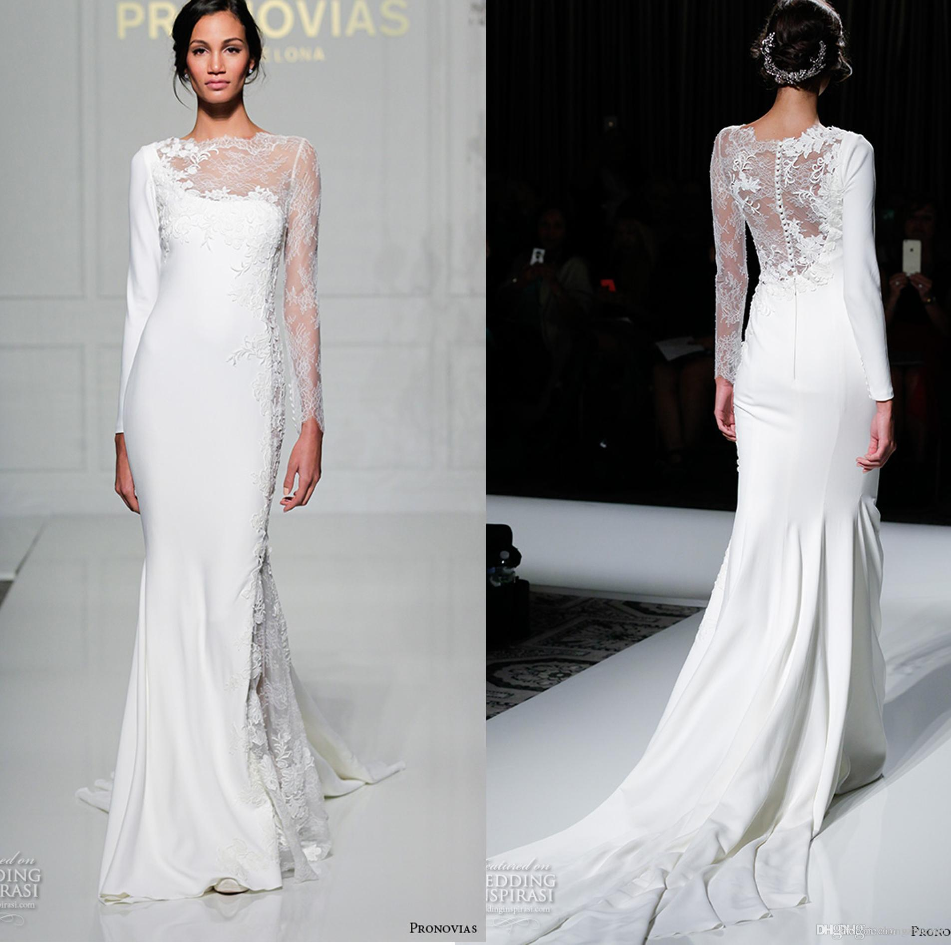 y White Wedding Dresses Long Sleeve Lace Bridal Gowns