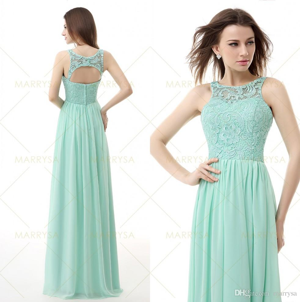 Bridesmaid dresses under 100 mint green chiffon lace long for Green beach wedding dresses