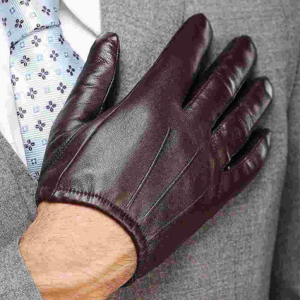 Driving gloves winter - Best 2015 Fashion Men Genuin Leather Gloves Wrist Sheepskin Gloves For Man Thin Winter Leather Driving Gloves Under 110 74 Dhgate Com
