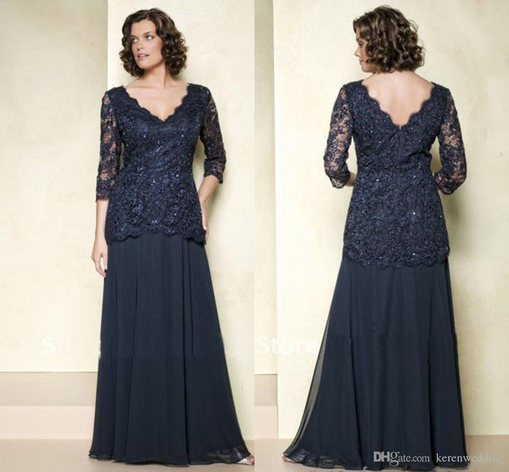 Vintage Plus Size Navy Blue Mothers Dresses With 3/4 Long Sleeves ...