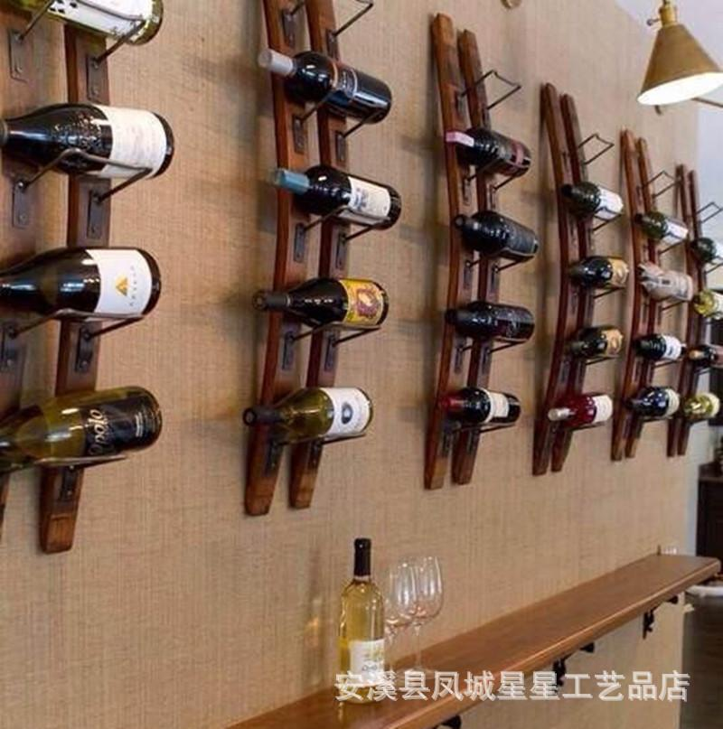 stars professional design custom decorative wood wall hanging wall mounted wine rack fashion creative bar - Decorative Wood