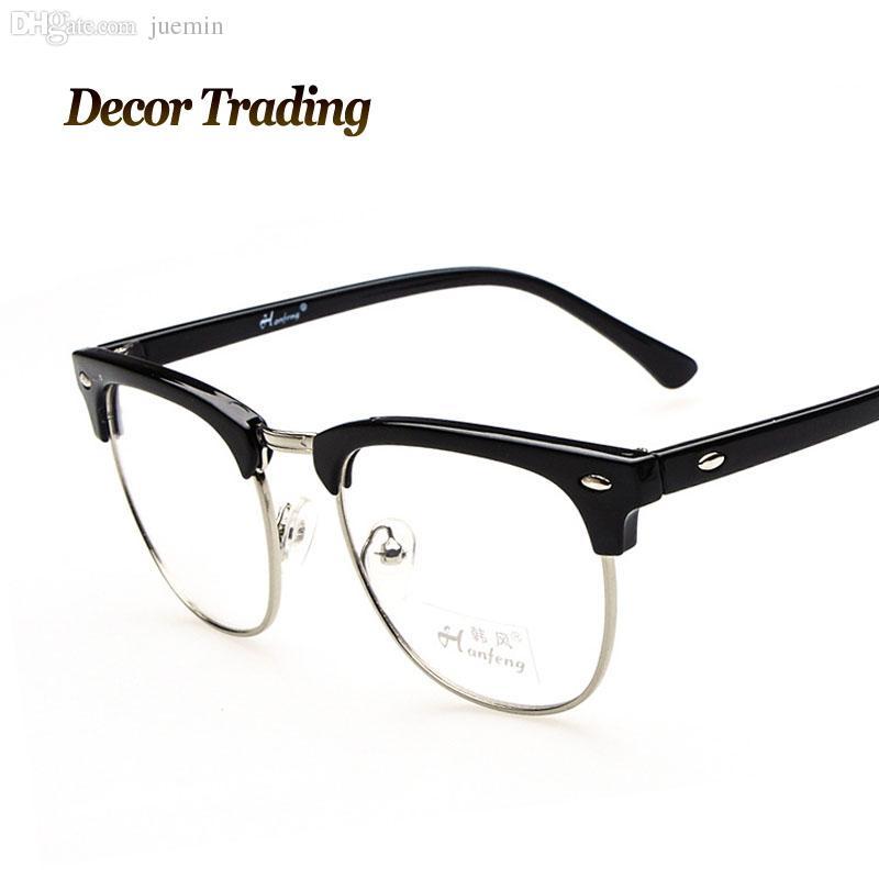 wholesale retro high fashion plain glasses metal frame eyeglass for men trendy all matching
