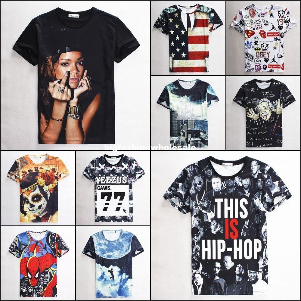Shirt new design 2015 - 2015 New Arrive Men Women S 3d Tee Shirts Harajuku Print Rihanna Work Hard Dream Big Funny Graphic Summer T Shirt Short Tops