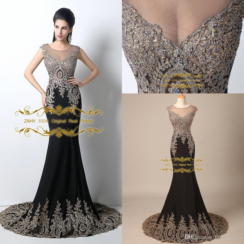 Zahy 2015 Best 100% Real Images Sheer Neck Black Formal Evening ...