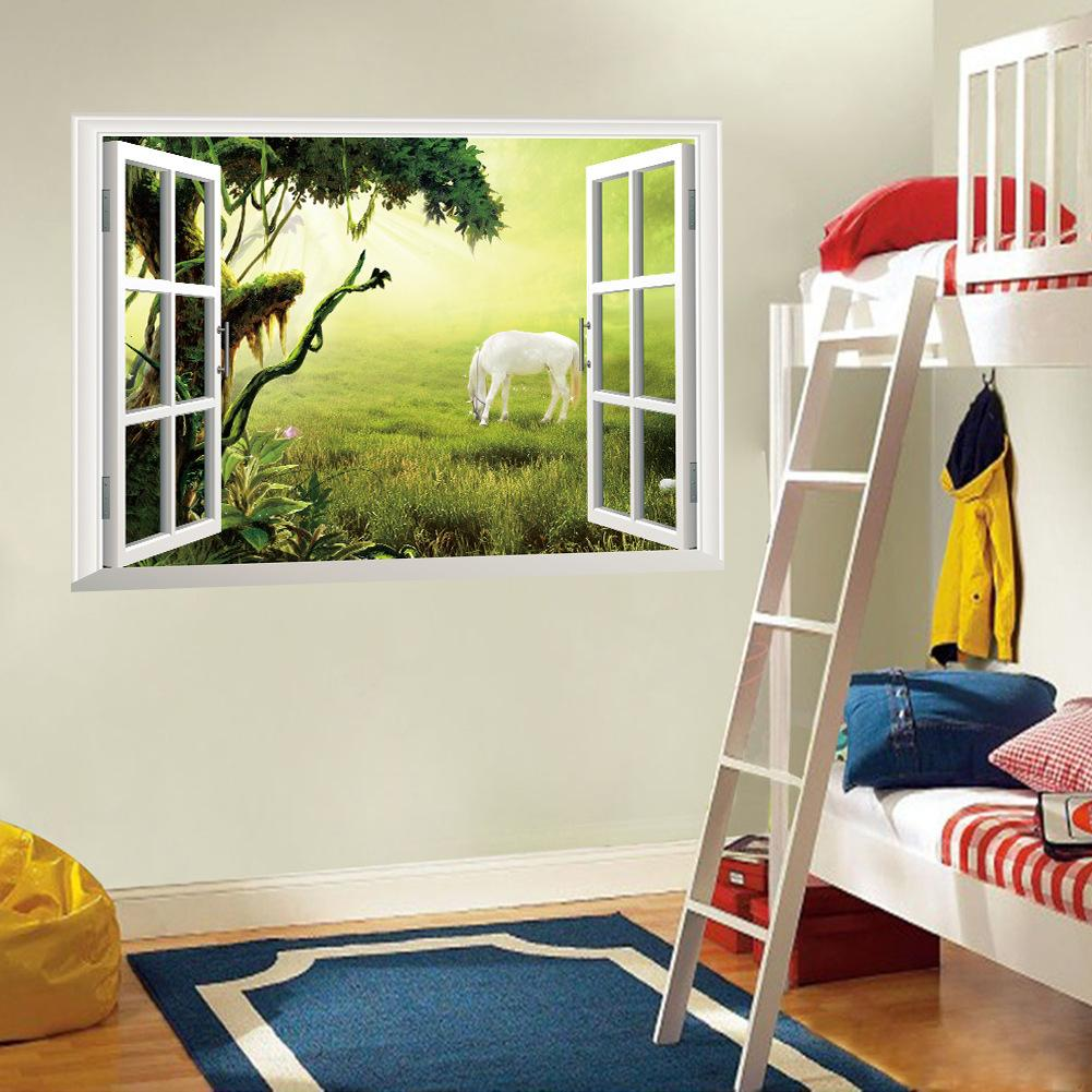 3d window wall art mural sticker white horse on the grassland wall decoration paper poster sun. Black Bedroom Furniture Sets. Home Design Ideas