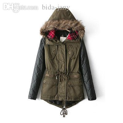 Online Cheap Wholesale Stylish Winter Women Faux Leather Hoodie ...