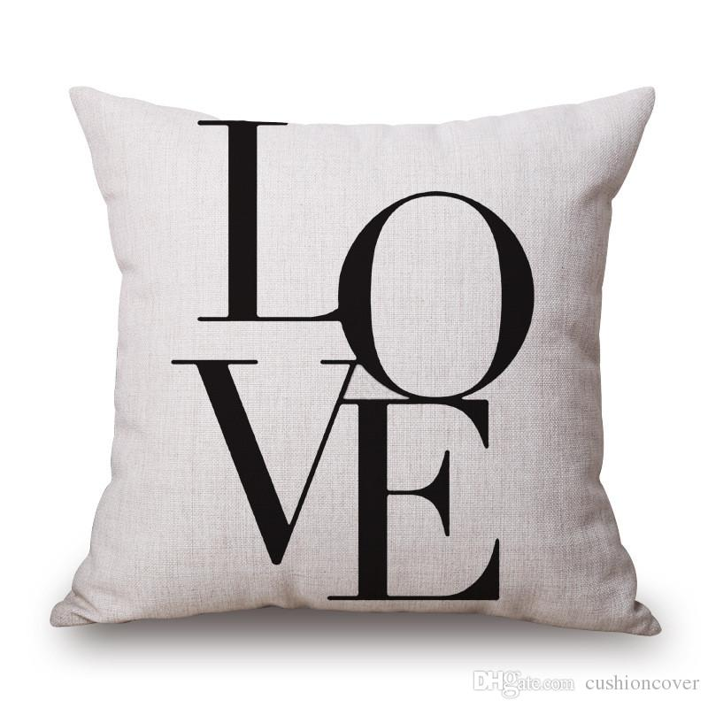 Sample black and white letter pillow cover cotton linen for Cojines sofa exterior