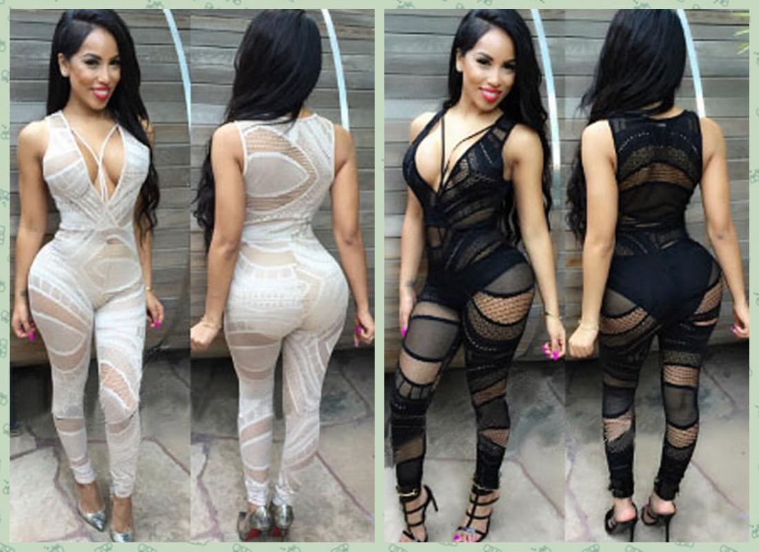2017 2015 Sexy Deep V Neck Club Wear Bodycon Bandage Jumpsuit ...