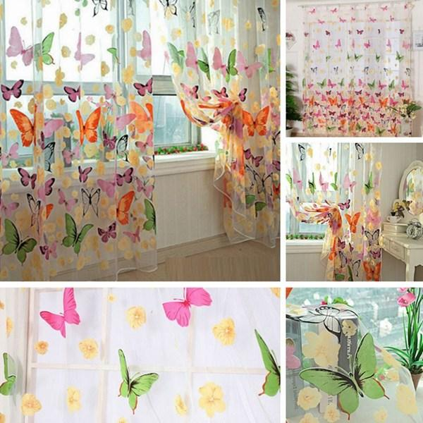 New Gorgeous Butterfly Print Patte Sheer Window Room Curtains ...