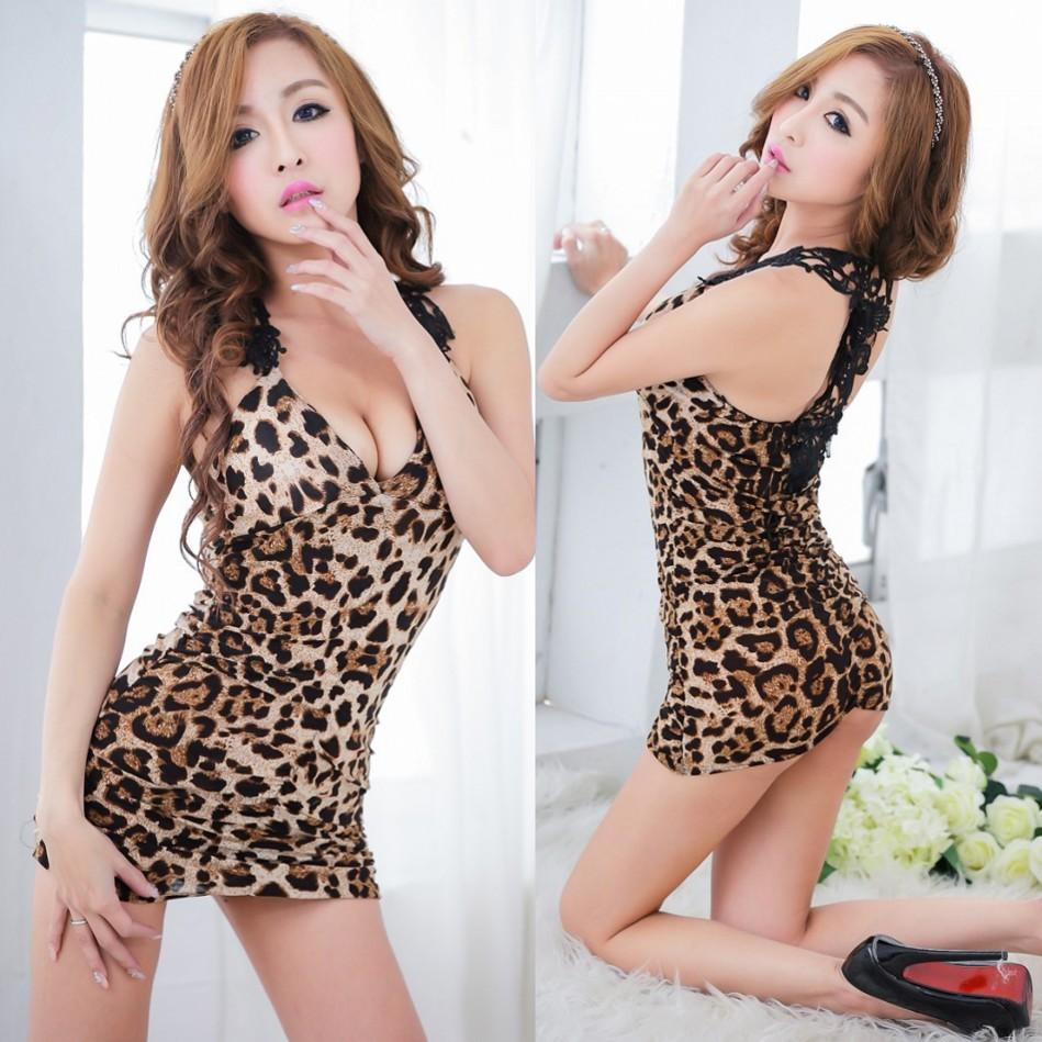 2015 Summer Sexy Lingerie Sexy Leopard Dress Short Tight Package ...