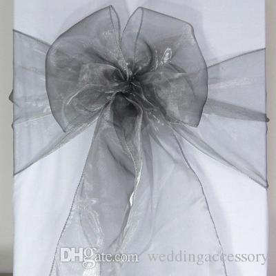100 gray organza chair sashes dark silver charcoal crystal table