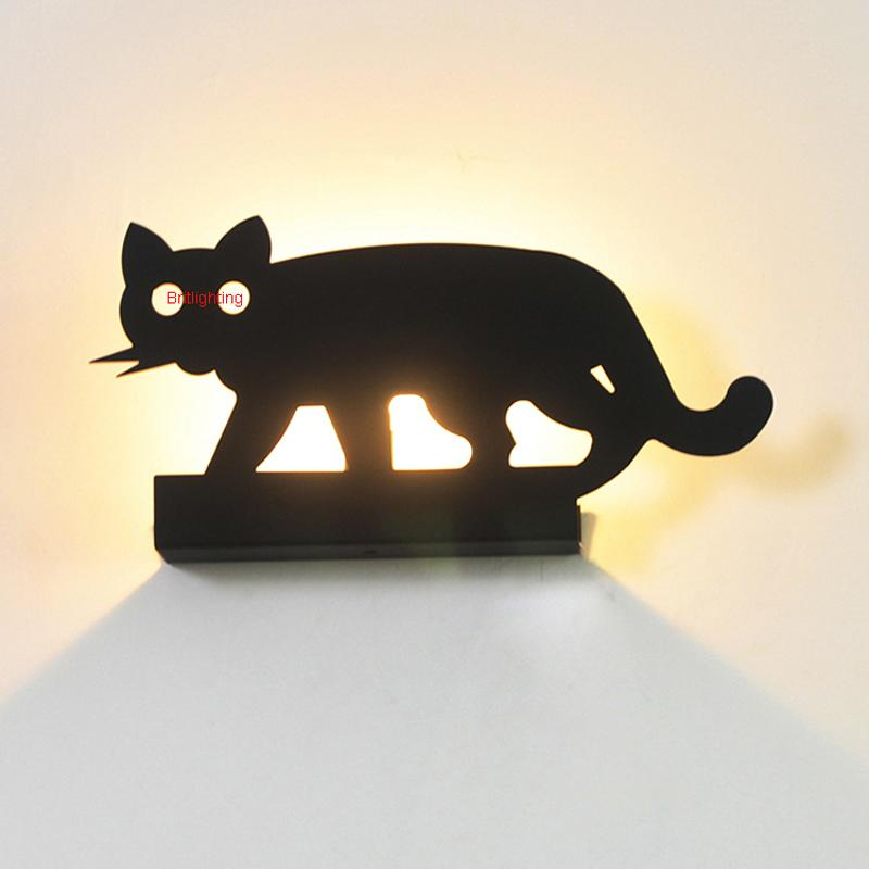 Cartoon Creative Kidu0027s Room Wall Lamp Modern Animal Wall Light Black Bedroom Wall Lights Living Room Wall Sconces Kids Wall Light Spot Wall Light