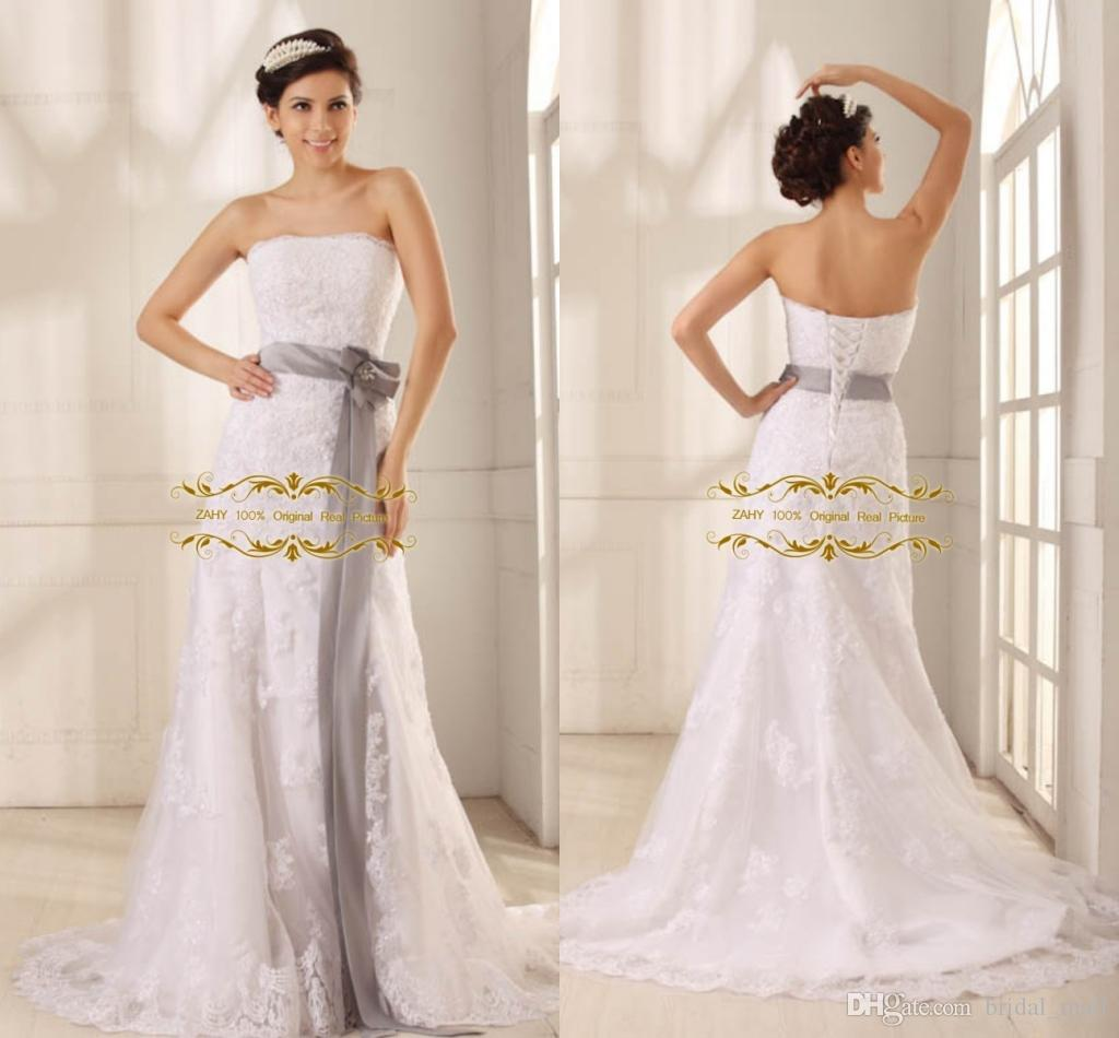 Hot Sale 2015 Lace Bridal Gown Strapless Sheath With Belt