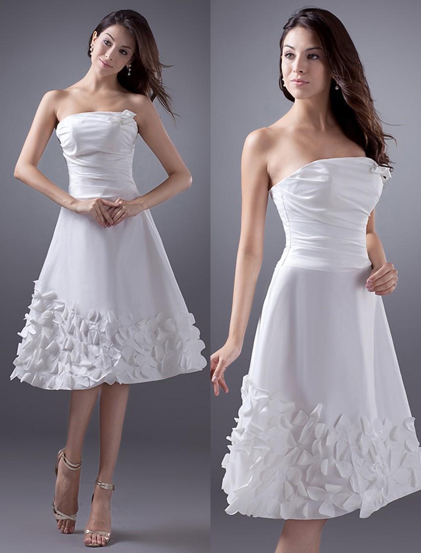 2015 cheap simple a line short wedding dresses strapless for Cheap second wedding dresses