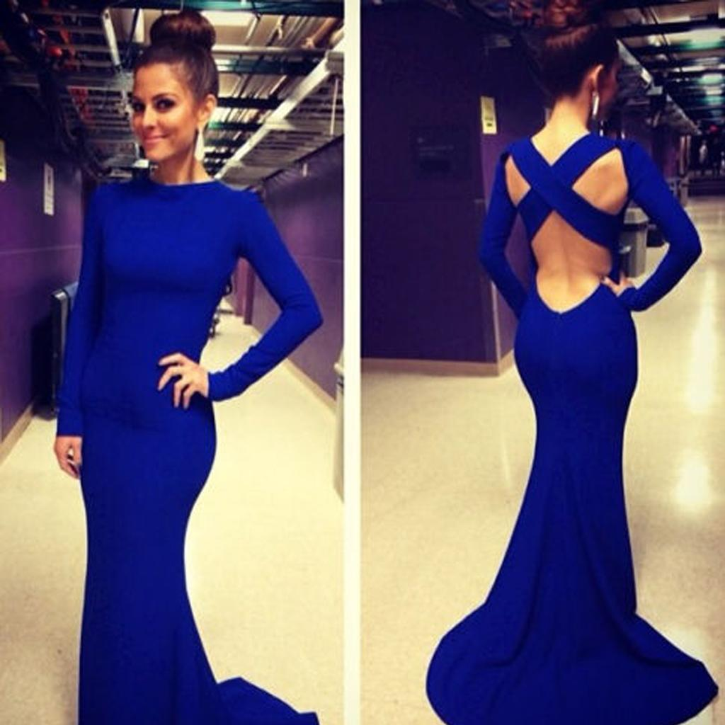 Sexy Fitted Blue Evening Dresses Mermaid Jewel Neck Long Sleeves ...