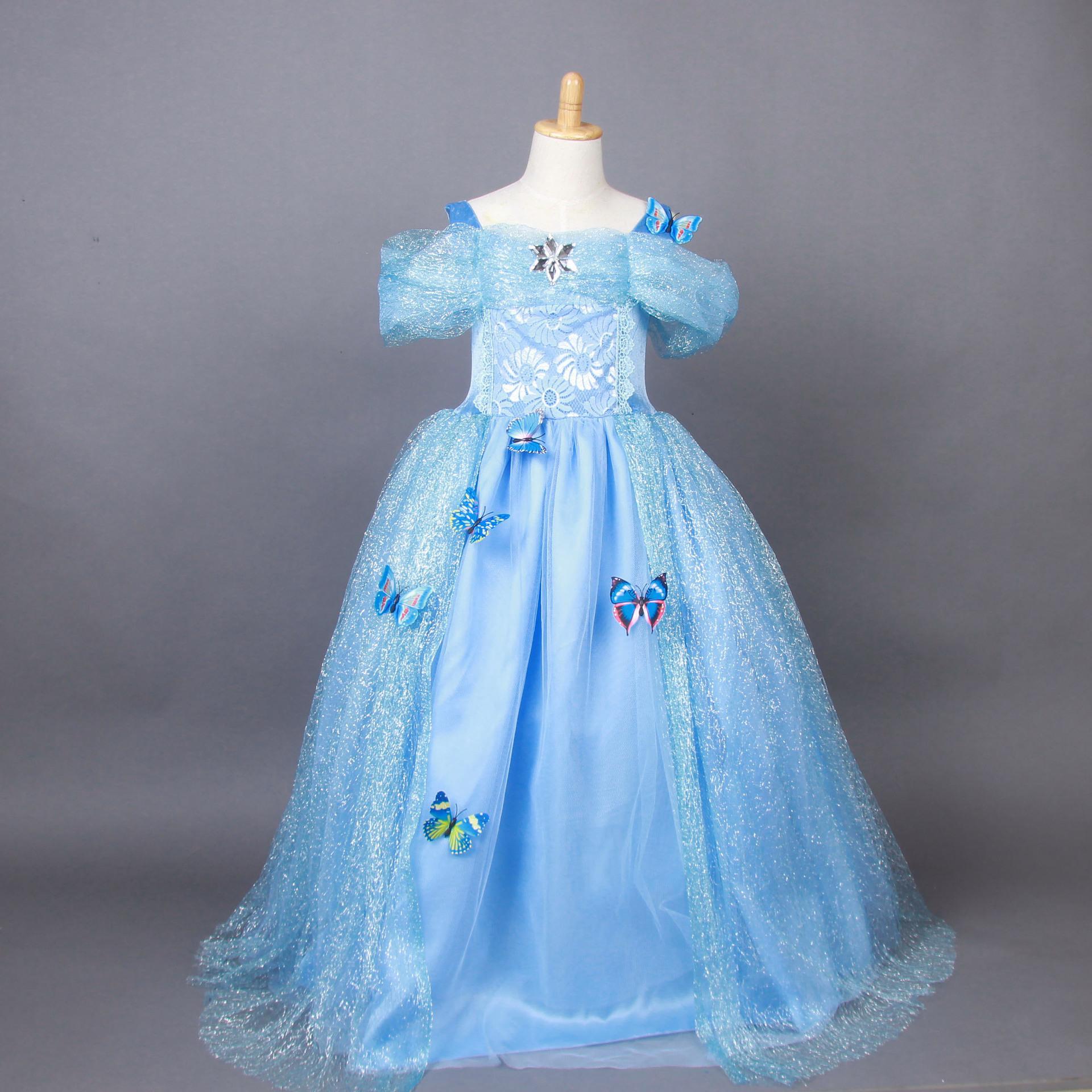 2017 2015 Frozen Elsa Dresses Cotton Cinderella Blue Princess ...