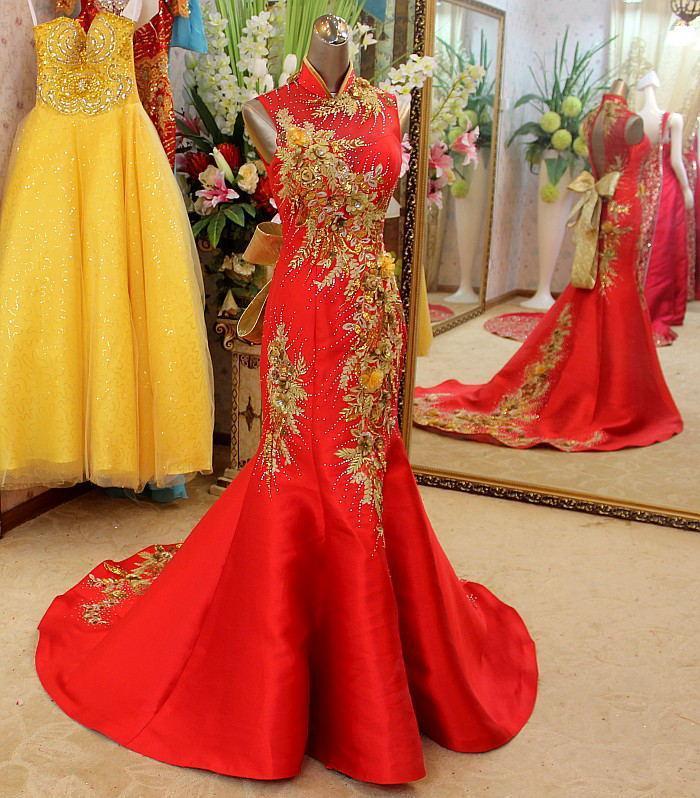 Retro Cheongsam 2015 Dresses High Neck Prom Dresses Embroidery Red ...
