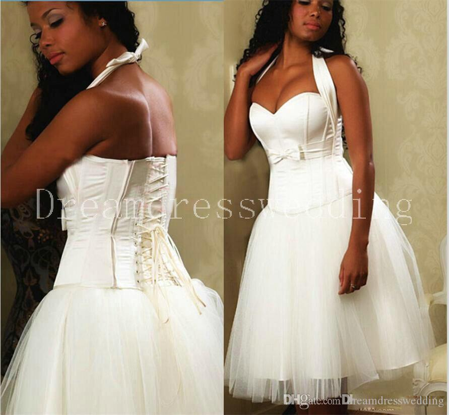 Discount discount short 2016 white wedding dresses bandage for White short wedding dresses cheap