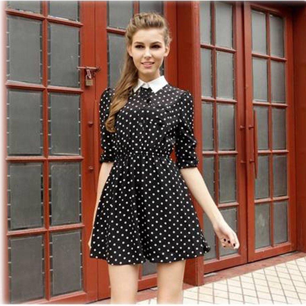 Modern dress casual - New 2015 Casual Fashion Summer Modern Office Ladies Chiffon Long Sleeve Slim Lapel Printed Dot Dress Women