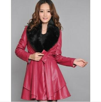 Leather Jacket Women Clothing Plus Size Winter Coat Women Long Design Leather Jacket Outerwear Fur Collar Leather & Suede Online with $72.26/Piece on
