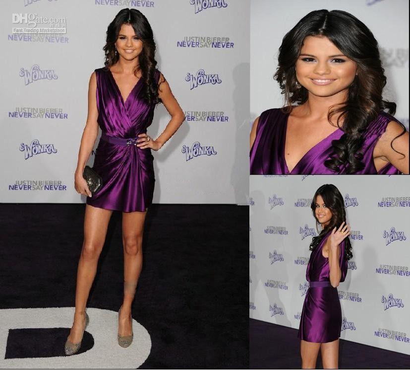 Selena Gomez Short Purple Mini Dress Cocktail Celebrity Dress ...