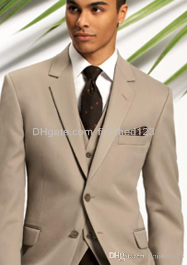 2015 New Style Two Buttons Light Brown Groom Tuxedos Notch Lapel