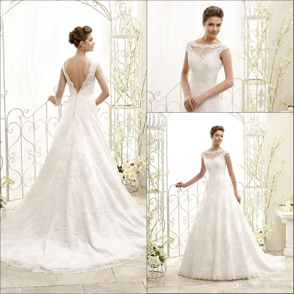 Discount Lace Backless Country Style Wedding Dresses 2015