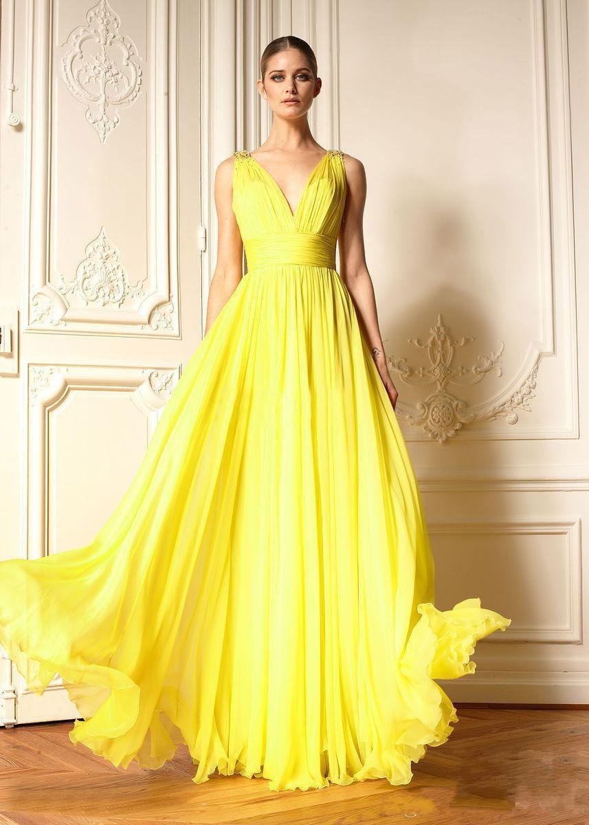 2015 Evening Dress Fashion Bright Yellow Prom Dress V Neck High ...