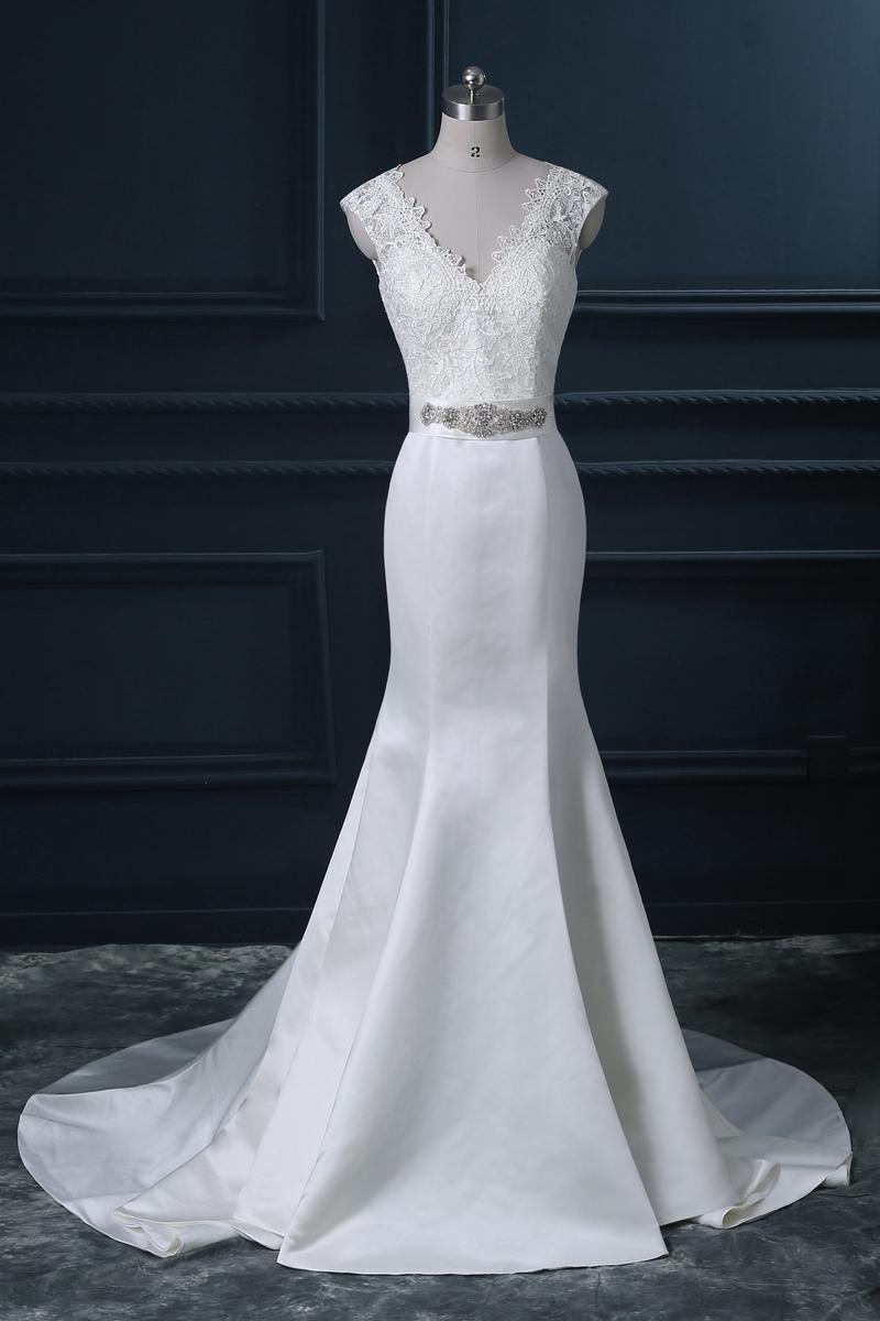 V Line Mermaid Wedding Dress : Neck lace mermaid wedding dress bandage a line sweep train slim fit