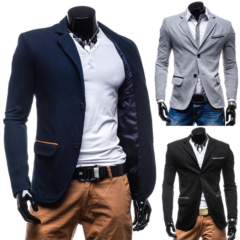 New Fashion Turn-down Collar Slim Male Blazer Autumn Men's Jackets ...