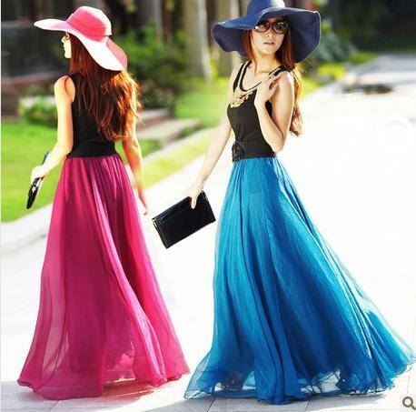 Best Quality Fashion Skirts 2015 Women Summer Chiffon Skirts Beach ...