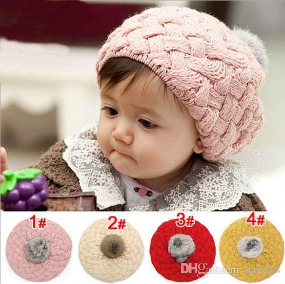 children caps, kids New Fashion sweet cute baby hats, girls Little princess ball wool hat, 5pcs/lot , dandys