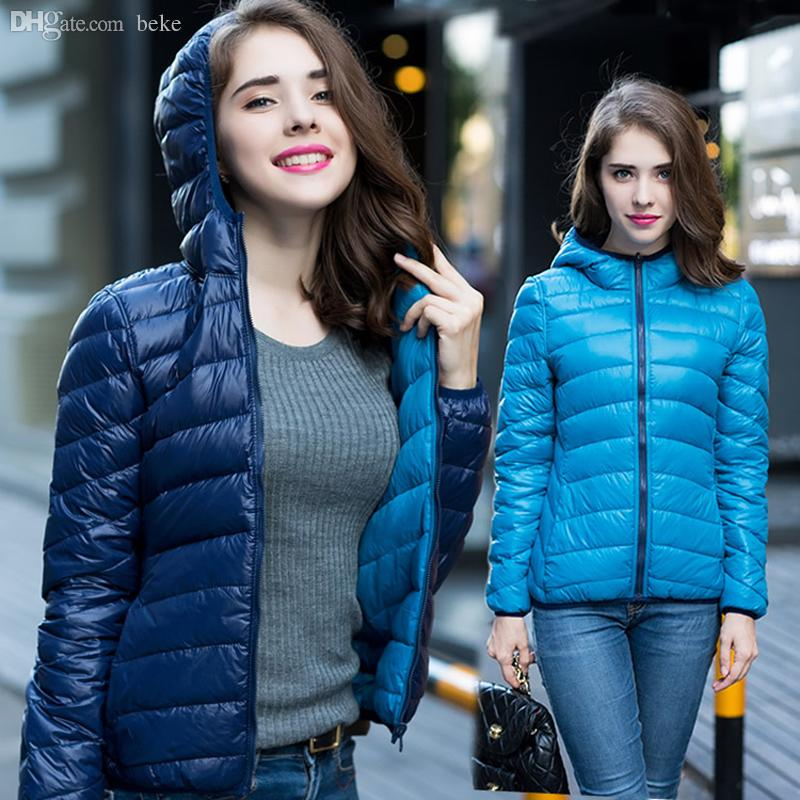 Wholesale-90% Winter Duck Down Jacket Women Hooded Ultra Light ...