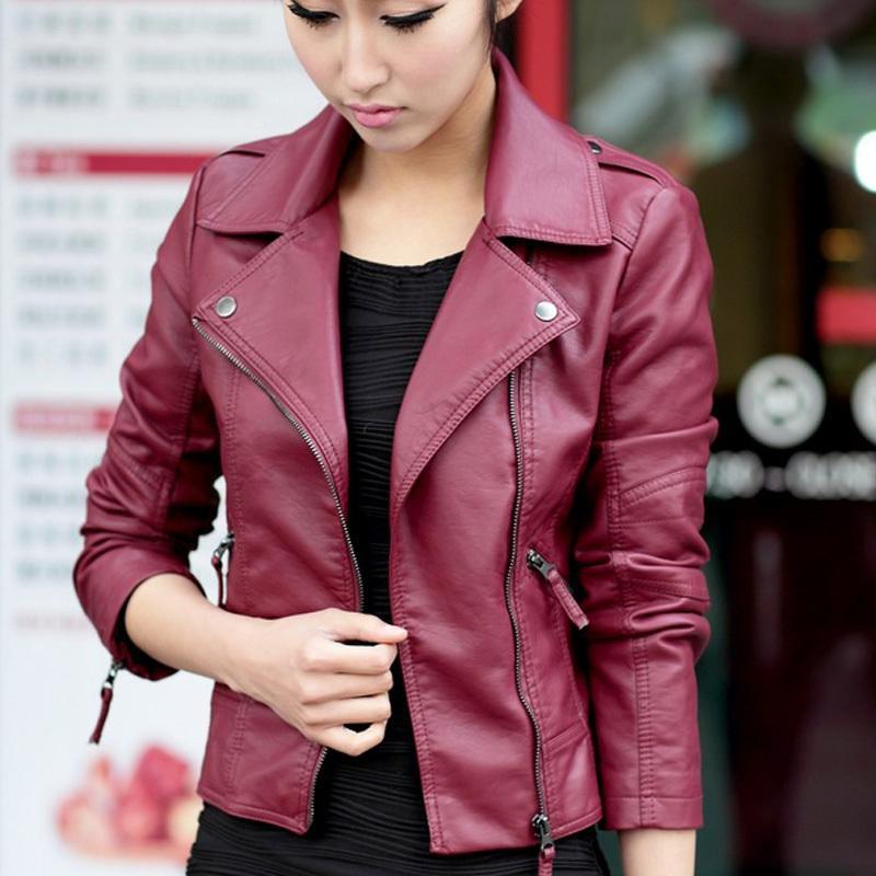 Women Jacket PU 2016 New Casual Jackets Women Black Leather Jacket